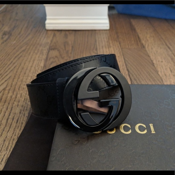 4e18afd58 Gucci Accessories | Authentic Men Belt Black Shiny Imprime | Poshmark